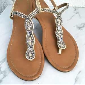 Boutique jeweled thong sparkling beaded sandals